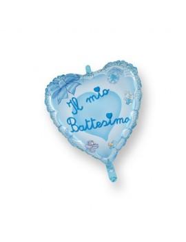 Palloncino Mini Cuore il Mio Battesimo Azzurro