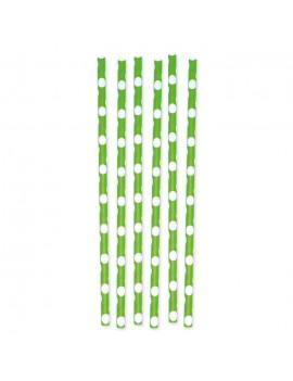 12 Cannucce in carta Pois Verde Mela