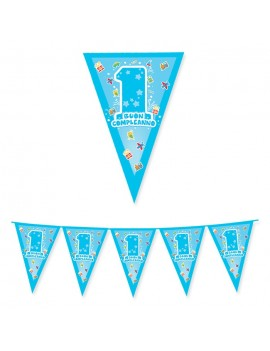 Festone Bandierina 1 Compleanno One Light Blue