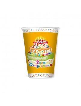 Bicchieri Torta Buon Compleanno da 200 ml (8 pz)