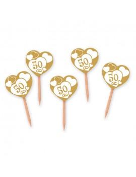 Picks Cuori 50° Anniversario Nozze d'Oro