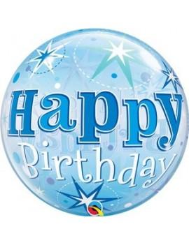 "Palloncino Mylar Bubble Happy Birthday Blue 22"""