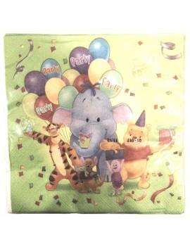 Tovaglioli di Carta Winnie The Pooh verdi 33x33