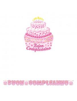 Festone Torta Buon Compleanno Rosa