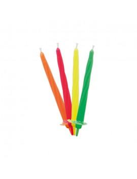 Candeline Multicolor Fluo con Sostegni (12pz)
