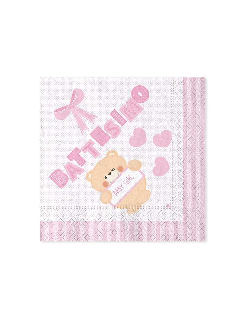 Piatti Di Carta Battesimo : Tovaglioli di carta battesimo teddy rosa idealball party