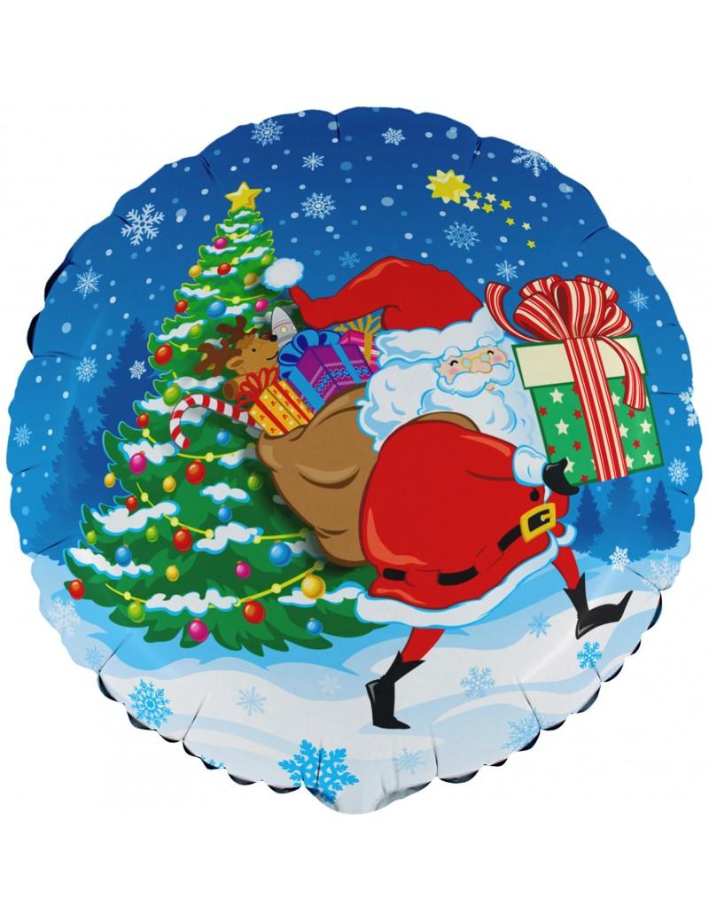 Palloncino Tondo Babbo Natale Blu