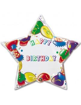 Palloncino Multicolor Stella Happy Birthday